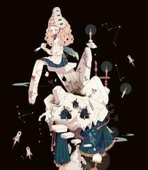 日式黑暗风格插画图片,插画师しきみ的黑童话作品组图10