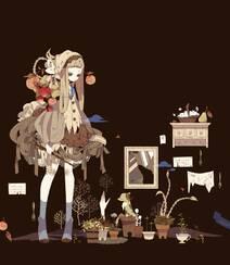 日式黑暗风格插画图片,插画师しきみ的黑童话作品组图1