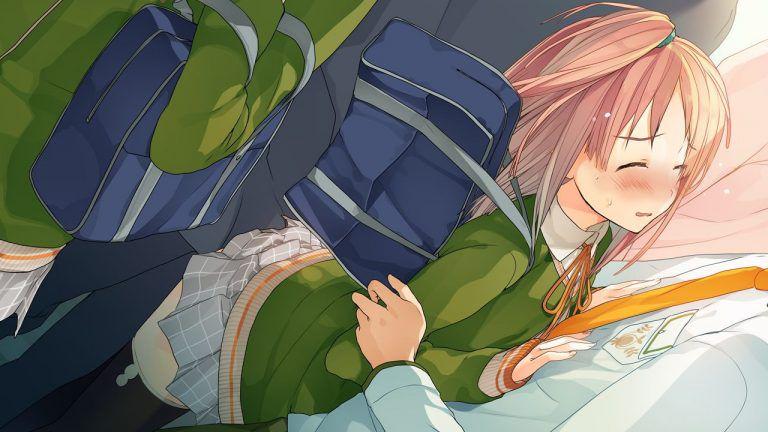 电车で痴汉されて黙って耐える女の子のエロ画像まとめ